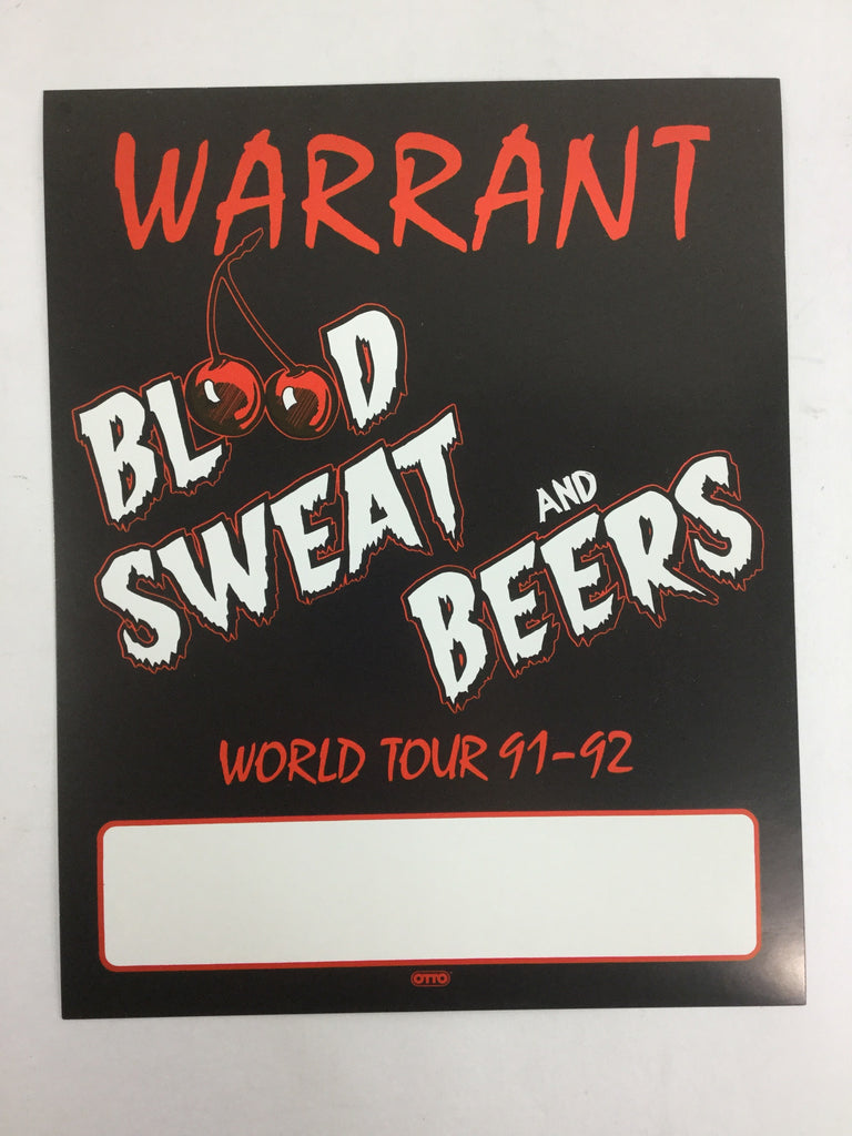 "Rare Warrant ""Blood Sweat and Beers"" 91-92 World Tour Poster"