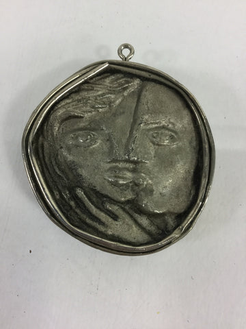 Handmade Pewter Man/Woman Necklace Medallion Folk Art - Odd MoFo