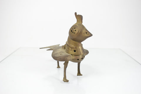 Vintage Brass Bird Chicken Shaped Incense Burner Made in India