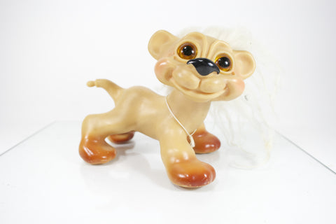 Awesome Vintage Troll Doll Dog / Lion Figurine - Odd MoFo