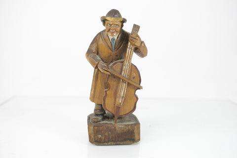 Vintage Upright Bass Cello Player Whittled Wood Carving