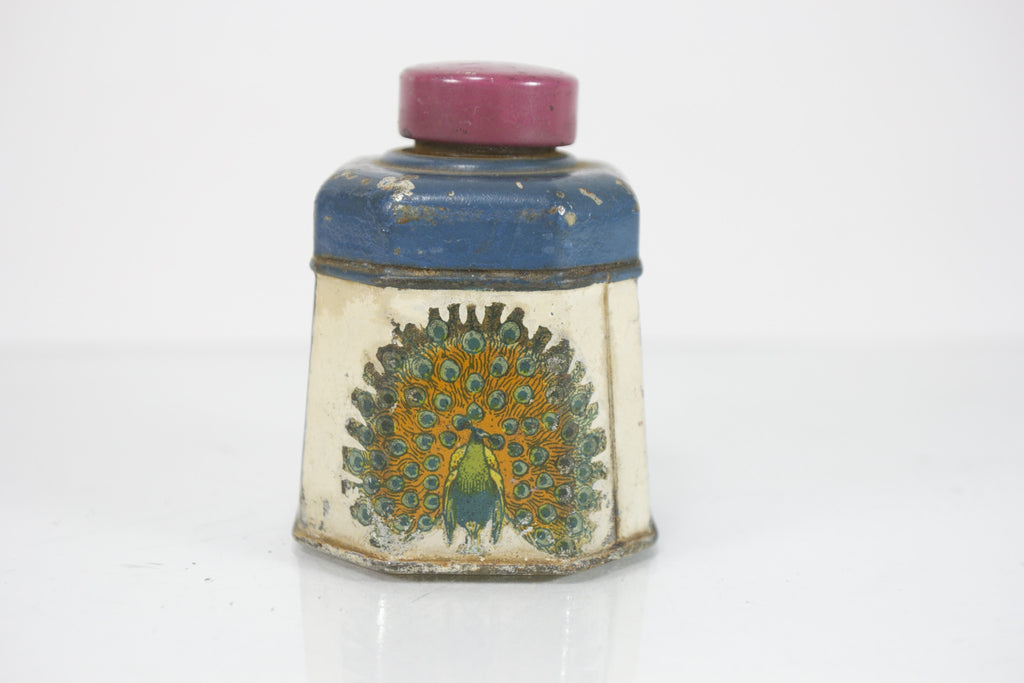 Vintage Signet Peacock Blue Ink Tin with Cool Graphics