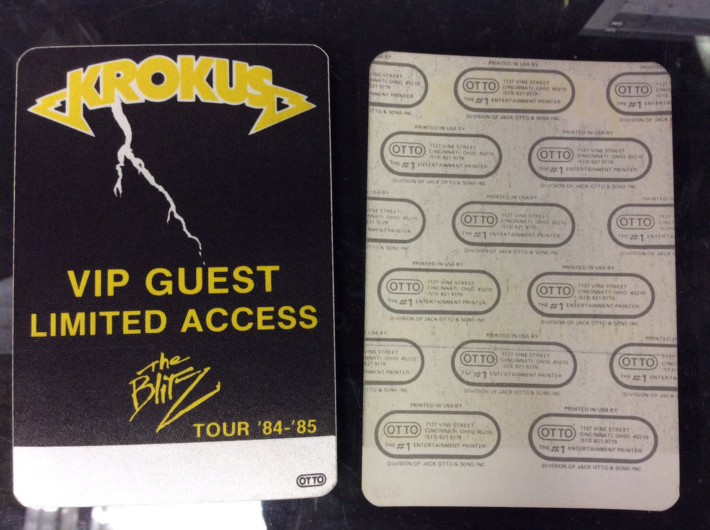 1984/85 Krokus The Blitz Tour OTTO Backstage Pass FREE SHIPPING - Odd MoFo