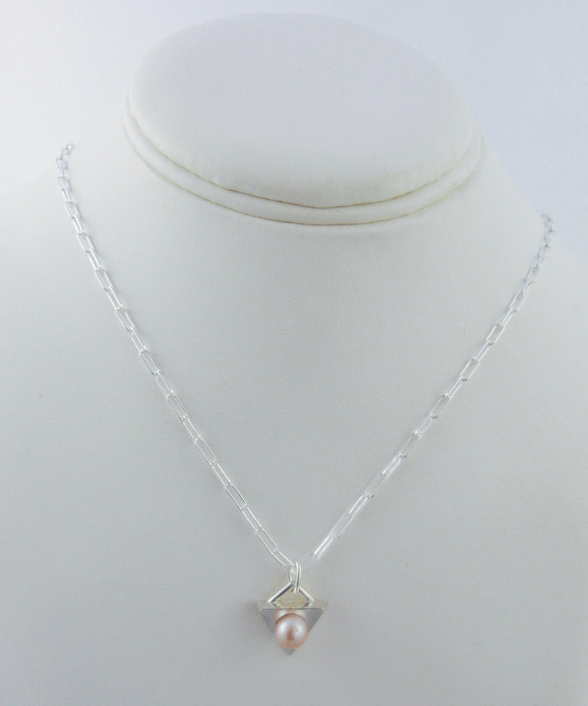 Sterling Silver Triangle Pendant with Large Pearl