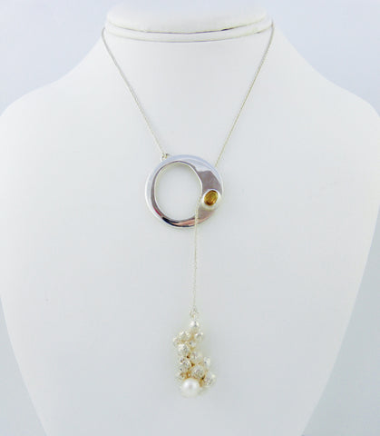 Sterling Silver O Necklace with Citrine and Pearl