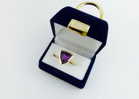 Trillion Amethyst Ring in 14K Yellow Gold; Size 5