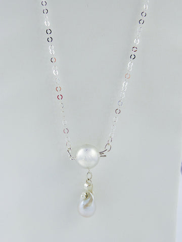 Handmade Silver Ball Clasp Necklace with Large Fireball Pearl