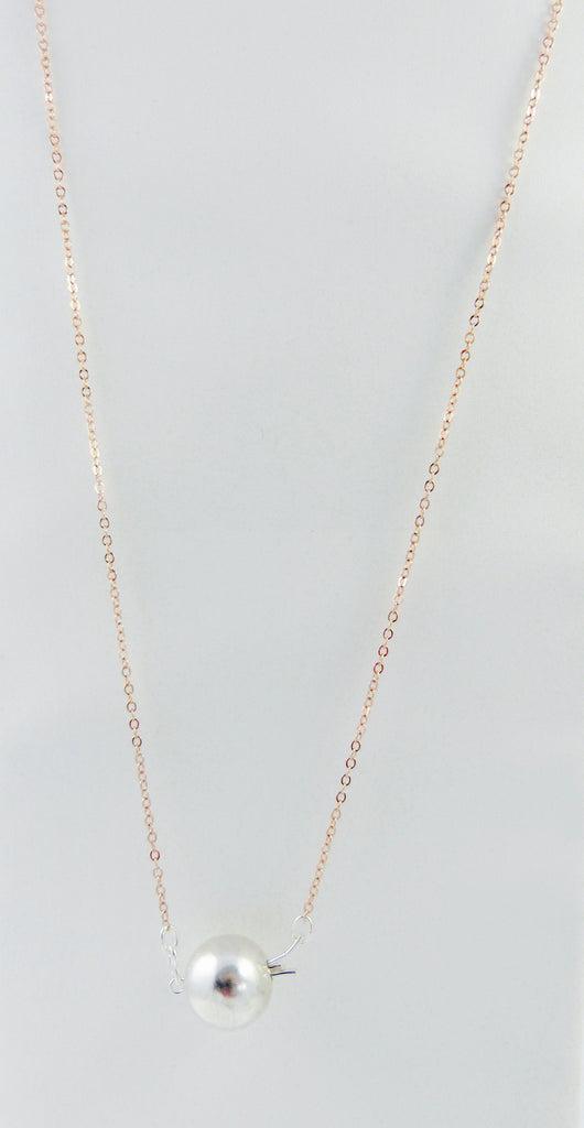 "Handmade Silver Ball Clasp Necklace on 30"" Rose Gold Vermeil chain"