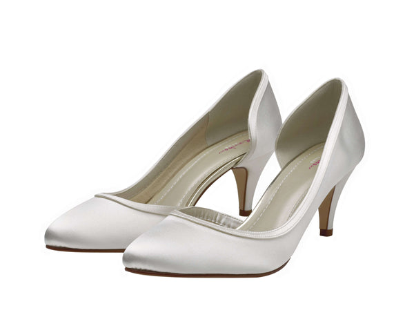Abbie- Ivory Satin Court Shoes - Adorno Bridal Accessories