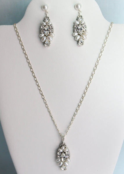Alix Necklace and Earring Set - Adorno Bridal Accessories