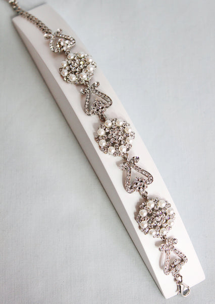 Nova Pearl and Crystal Cluster Bracelet - Adorno Bridal Accessories
