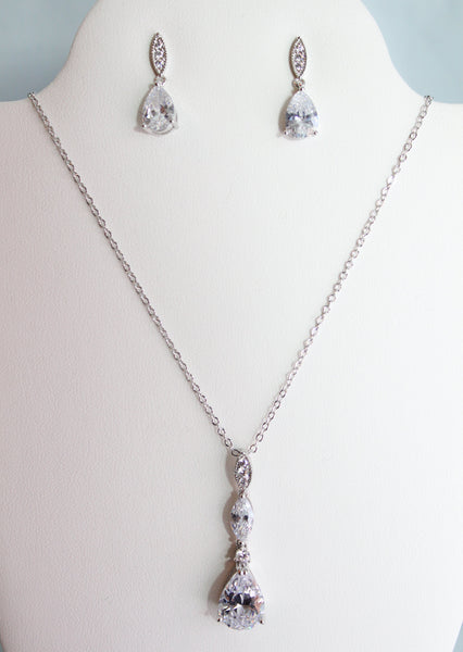 Halley Pendant and Earring Set - Adorno Bridal Accessories