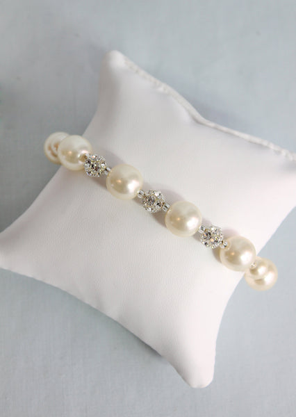 Stella Pearl and Rhinestone Sphere Bracelet - Adorno Bridal Accessories