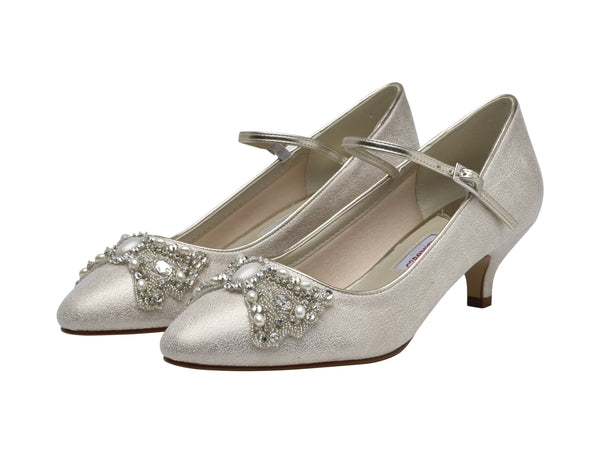 Anastacia- Low Heel Champage Court Shoes - Adorno Bridal Accessories
