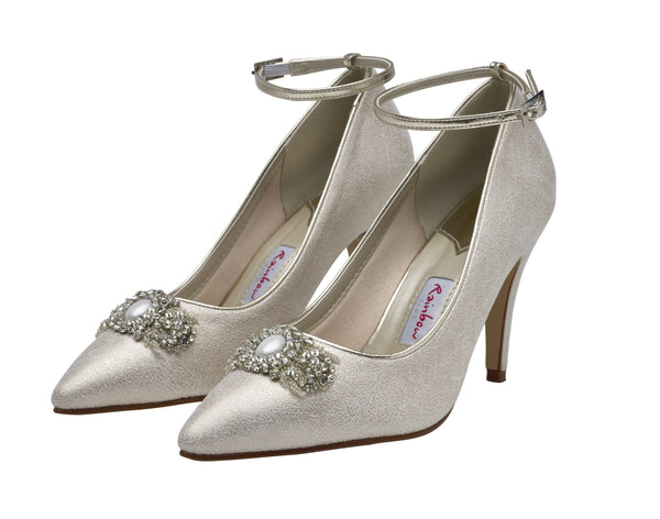 Ceri- Champagne Pointed Toe Court Shoes - Adorno Bridal Accessories