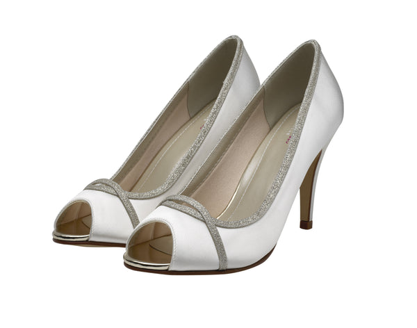 Chelsey- Silver Shimmer Peep Toe Shoes - Adorno Bridal Accessories
