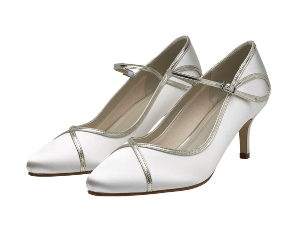 Dorothy- Gold Overlay Ivory Court Shoes - Adorno Bridal Accessories