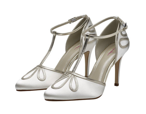 Elspeth- T-Bar Satin Court Shoes - Adorno Bridal Accessories