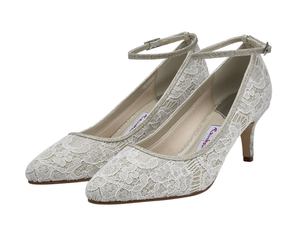 Evelyne- Ivory Gold Shimmer Lace Court Shoes - Adorno Bridal Accessories