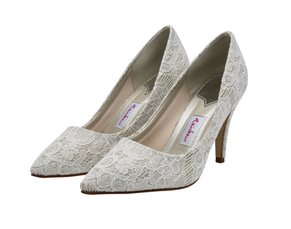 Giverney- Shimmer Lace Court Shoes - Adorno Bridal Accessories