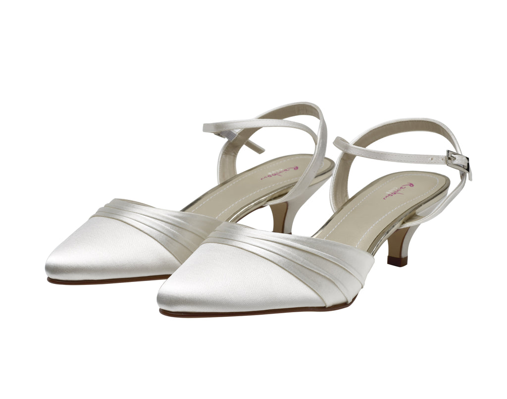 Julie- Ivory Satin Two Piece Court Shoes - Adorno Bridal Accessories