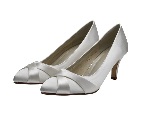 Lexi- Ivory Satin Court Shoes - Adorno Bridal Accessories