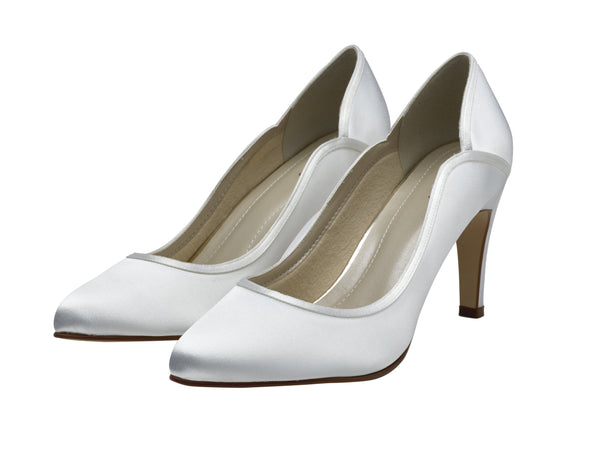 Lucy- Ivory Satin Court Shoes - Adorno Bridal Accessories