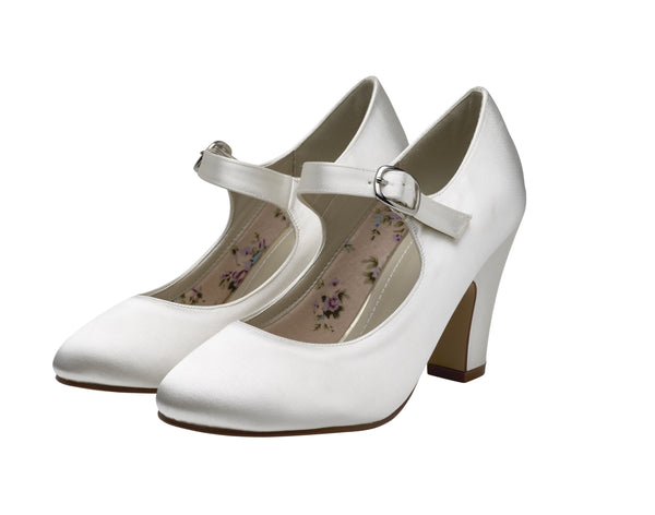 Madeline- Mary Jane Satin Shoes - Adorno Bridal Accessories