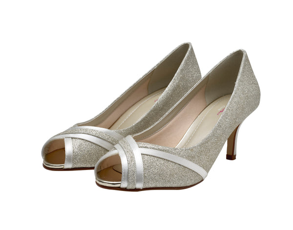 Margie- Silver Shimmer Peep Toes - Adorno Bridal Accessories
