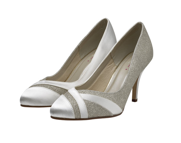 Mila-Shimmer Wide Fit Court Shoes - Adorno Bridal Accessories