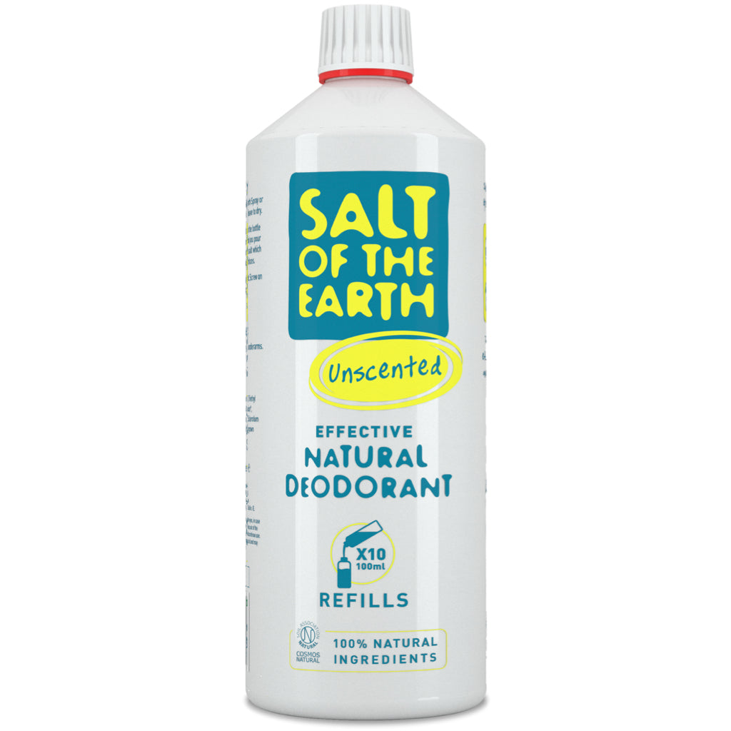 Salt of the Earth natural deodorant refill unscented 1 litre bottle front view