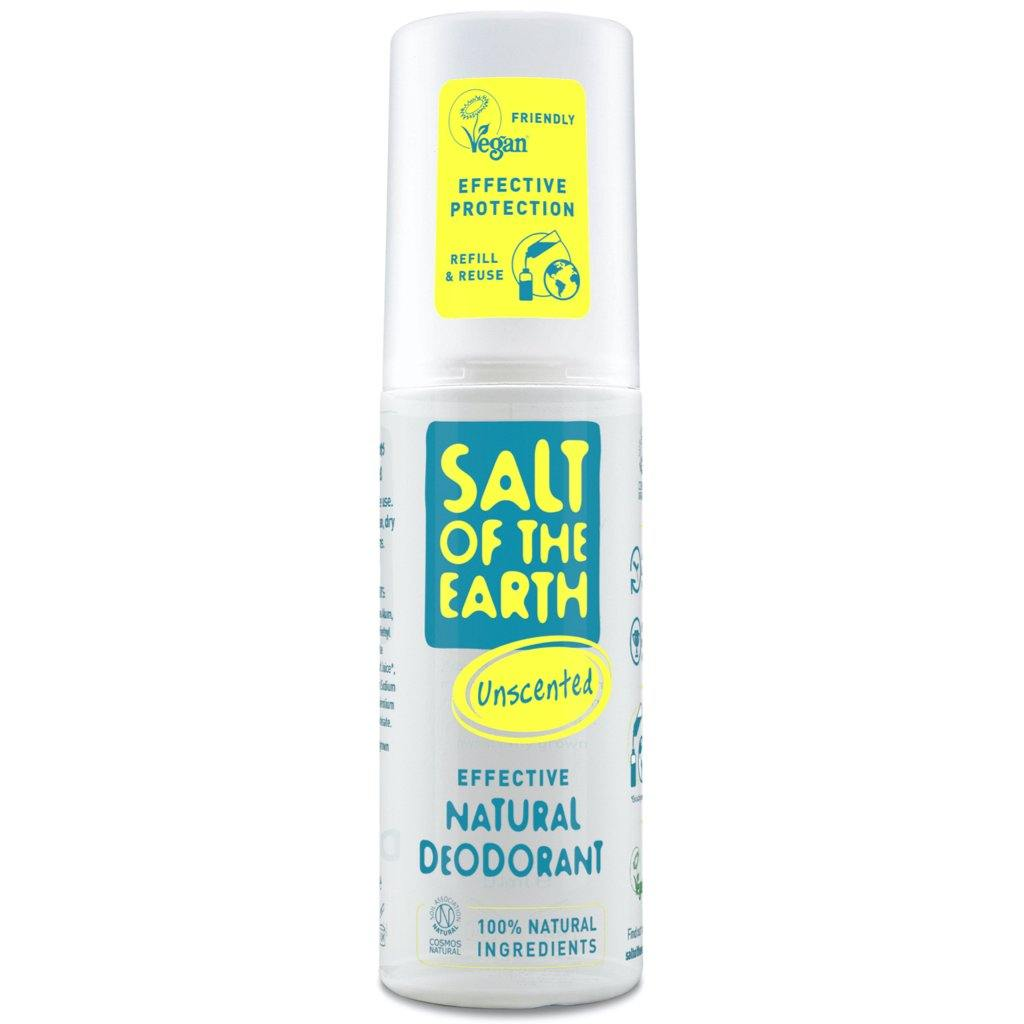 Salt of the Earth Unscented Natural Deodorant Spray 100ml.  Front of Pack.