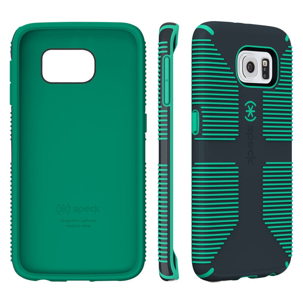 Speck Samsung Galaxy S6 Edge Candyshell Grip Case - Charcoal Gray / Dragon Green
