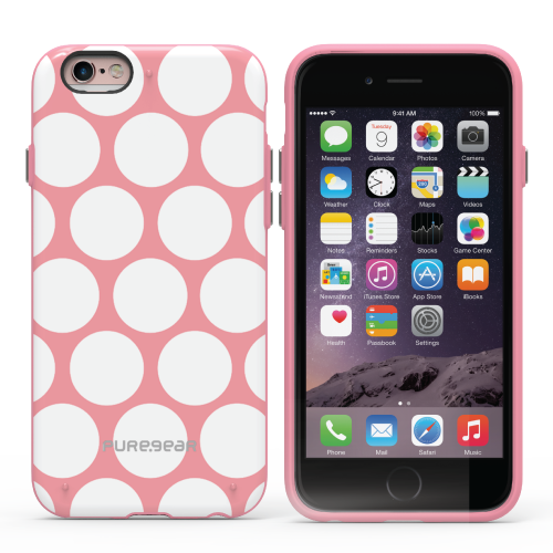 PureGear Apple iPhone 6 Plus / 6s Plus Slim Shell Case - Pattern Print Pink White Dot