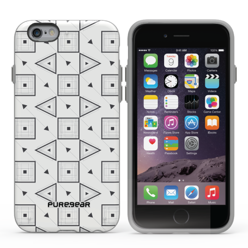 PureGear Apple iPhone 6 Plus / 6s Plus Slim Shell Case - Pattern White Black Geo