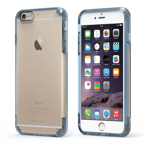 PureGear Apple iPhone 6 / 6s Slim Shell Pro Case - Clear / Blue
