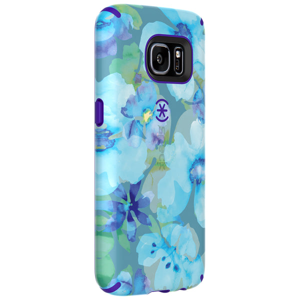 Speck Samsung Galaxy S7 Candyshell Inked Case - Aqua Floral Blue And Ultraviolet Purple