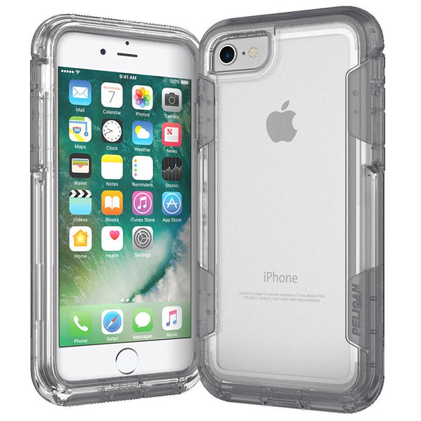 Pelican Apple iPhone 7 Voyager Rugged Case with Kickstand Holster - Clear / Gray
