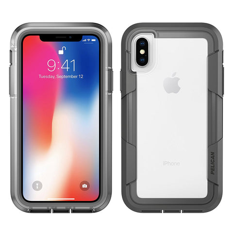 Pelican Voyager Case for Apple iPhone Xs / X - Clear and Gray