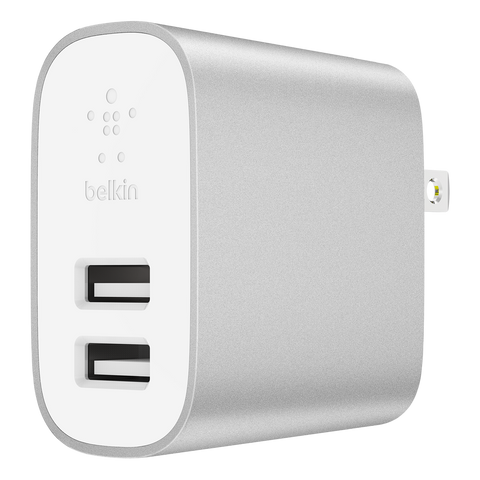 Belkin Boost Up Wall Charger Dual Port 12W / 4.8A Universal - White and Silver