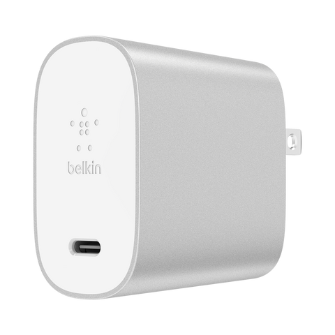Belkin Power Delivery Home Charger 27W for Type C Devices - White and Silver