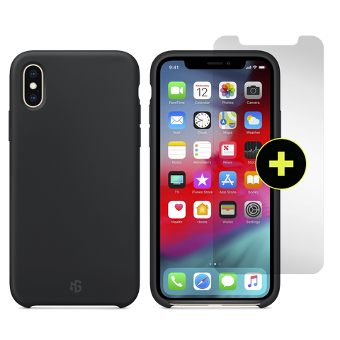 Gadget Guard Essentials Plus Insured Bundle Case Plus Glass Screen Protector for Apple iPhone Xs / X - Black