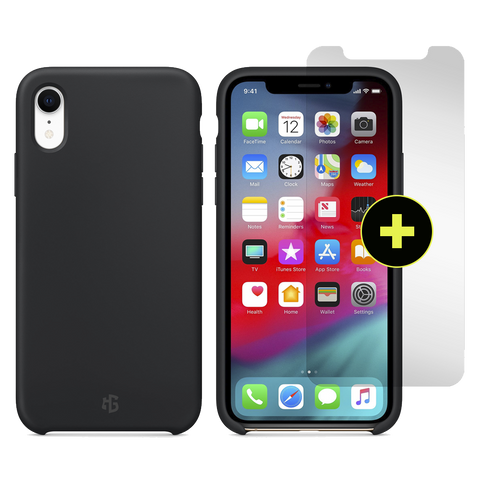 Gadget Guard Essentials Plus Insured Bundle Case Plus Glass Screen Protector for Apple iPhone XR - Black