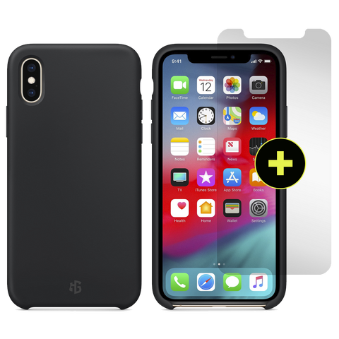Gadget Guard Essentials Plus Insured Bundle Case Plus Glass Screen Protector for Apple iPhone XS Max - Black