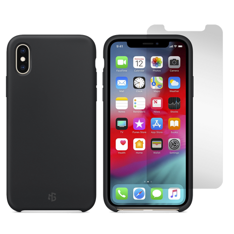 Gadget Guard Essentials Bundle Case Plus Glass Screen Protector for Apple iPhone Xs / X - Black