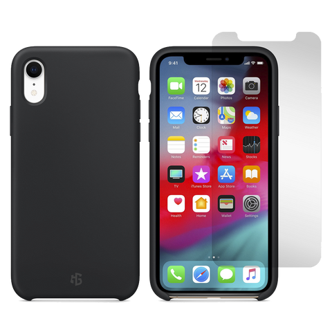 Gadget Guard Essentials Bundle Case Plus Glass Screen Protector for Apple iPhone XR - Black