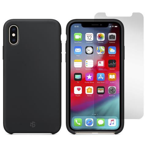 Gadget Guard Essentials Bundle Case Plus Glass Screen Protector for Apple iPhone XS Max - Black