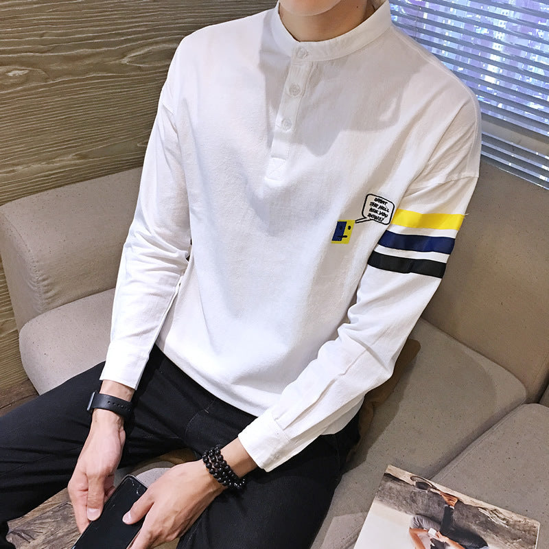 Men's t-shirt long-sleeved men's sweater round neck