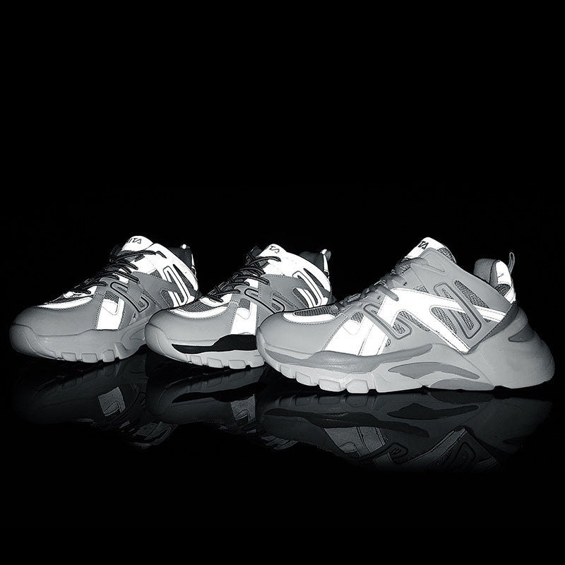 19 retro dad shoes spring breathable reflective thick bottomed couple sneakers panel lace up low top running shoes