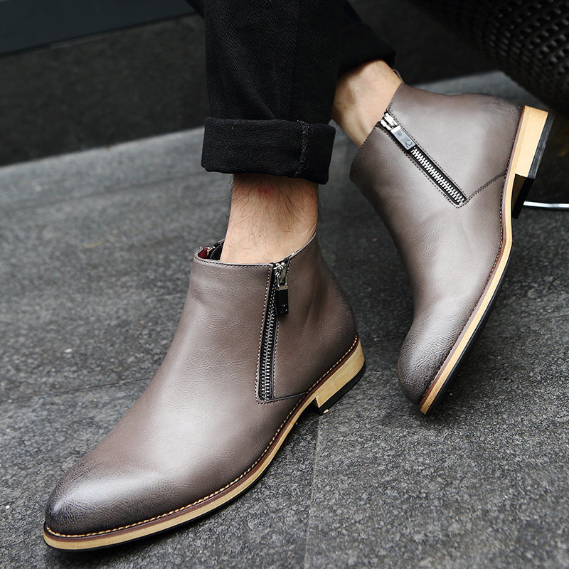 Spring and autumn men's boots short boots British Martin boots men's pointed leather boots fashion trend high top leather shoes men's Korean version